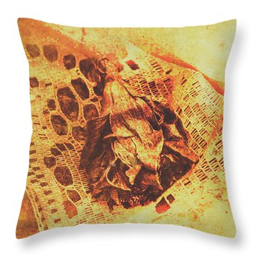 Closeup Of Wilted Daffodil On Fabric Throw Pillow
