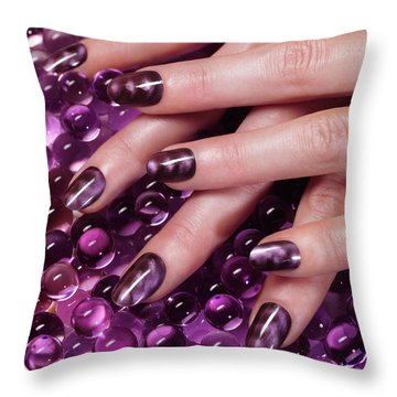 Closeup Of Woman Hands With Purple Nail Polish Throw Pillow by Oleksiy Maksymenko