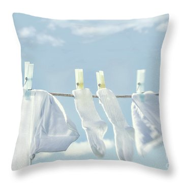 Clothes Hanging On Clothesline Throw Pillow by Sandra Cunningham