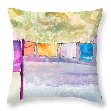 Clothes On The Line Throw Pillow