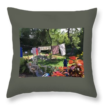 Clothesline And Coleus In An East Gloucester  Ma Garden  Throw Pillow