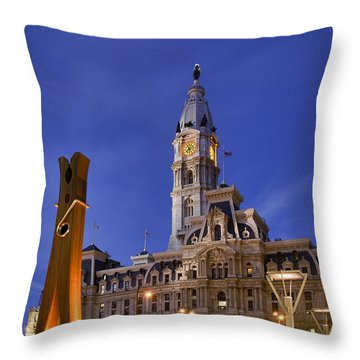 Clothespin And City Hall Throw Pillow by John Greim