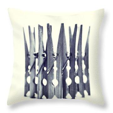 Clothespin Throw Pillow by Priska Wettstein