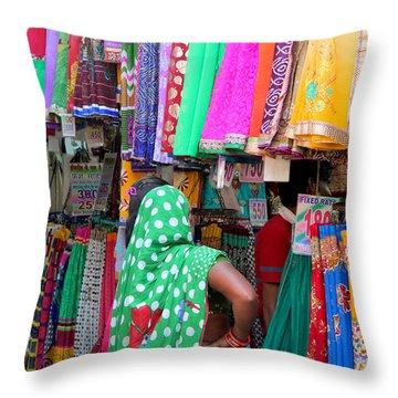 Clothing Shop In Madhavbaug, Mumbai Throw Pillow by Jennifer Mazzucco
