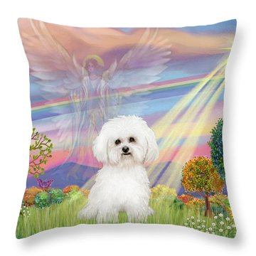 Cloud Angel And Bichon Frise Throw Pillow