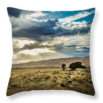 Cloud Break Over Sand Dunes Throw Pillow