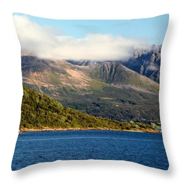 Cloud-capped Mountains Throw Pillow by Laurel Talabere