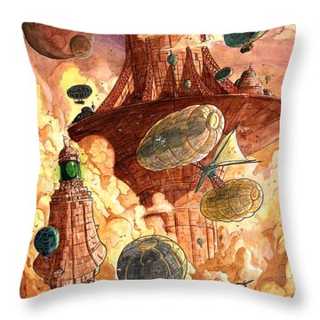 Cloud City Throw Pillow by Luis Peres