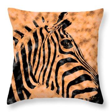 Throw Pillow featuring the digital art Cloud Face Zebra by Bartz Johnson