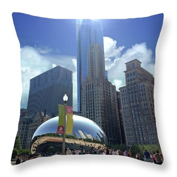 Cloud Gate In Chicago Throw Pillow
