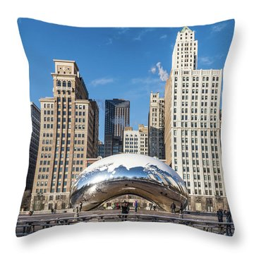 Cloud Gate To Chicago Throw Pillow