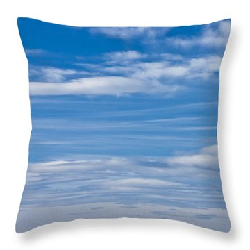 Cloud Streaked Blue Sky Throw Pillow by Sandra Foster