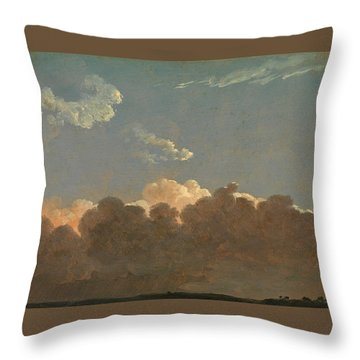 Throw Pillow featuring the painting Cloud Study. Distant Storm by Simon Denis