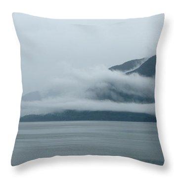 Cloud-wreathed Coastline Inside Passage Alaska Throw Pillow