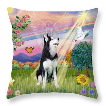 Cloudangel #1 - Siberian Husky Throw Pillow