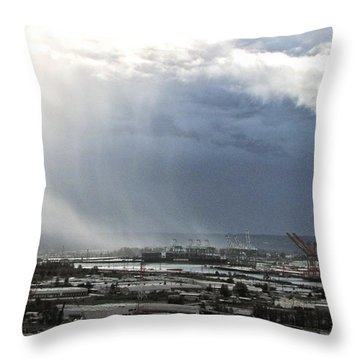 Throw Pillow featuring the photograph Cloudburst - Tacoma by Sean Griffin