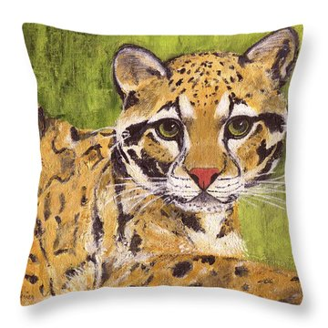 Throw Pillow featuring the painting Clouded Cat by Jamie Frier