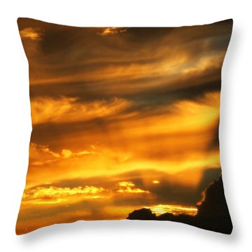 Clouded Sunset Throw Pillow