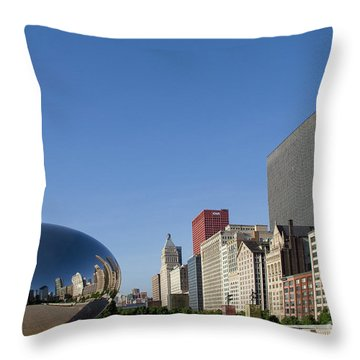 Cloudgate Reflects Michigan Avenue  Throw Pillow