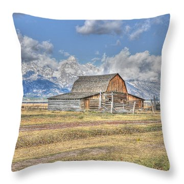 Clouds And Barn Throw Pillow