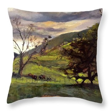 Clouds And Cattle Throw Pillow