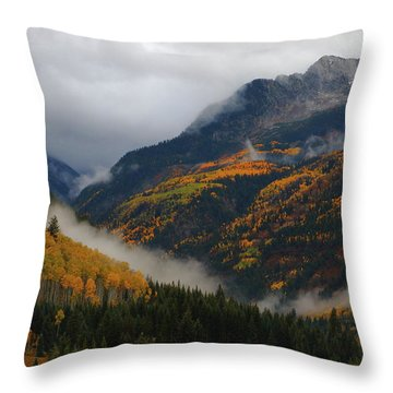 Clouds And Fog Encompass Autumn At Mcclure Pass In Colorado Throw Pillow by Jetson Nguyen