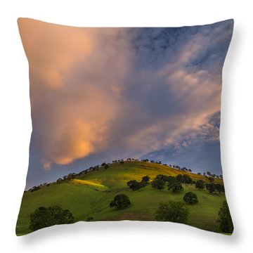 Clouds And Hill At Sunrise Throw Pillow by Marc Crumpler