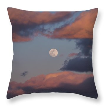 Throw Pillow featuring the photograph Clouds And Moon March 2017 by Terry DeLuco