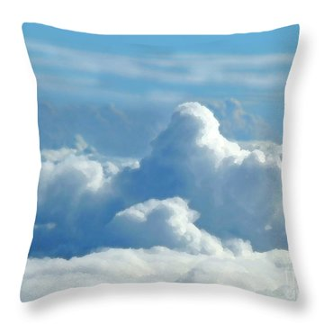Throw Pillow featuring the digital art Clouds And Sky M2 by Francesca Mackenney