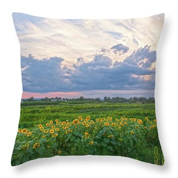 Clouds And Sunflowers Throw Pillow
