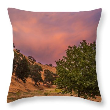 Clouds At Sunset Above Round Valley Throw Pillow by Marc Crumpler