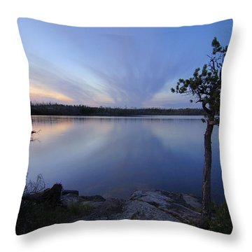 Clouds At Sunset On Seagull Lake Throw Pillow by Larry Ricker