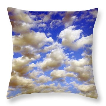 Throw Pillow featuring the digital art Clouds Blue Sky by Jana Russon