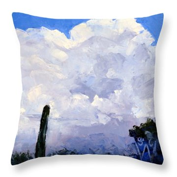 Clouds Building Throw Pillow