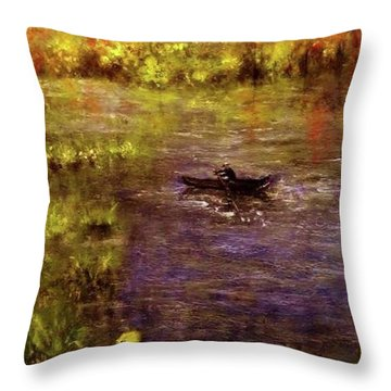 Throw Pillow featuring the painting Clouds.. by Cristina Mihailescu