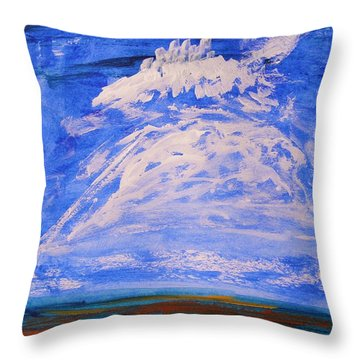 Throw Pillow featuring the painting Clouds Dance by Mary Carol Williams