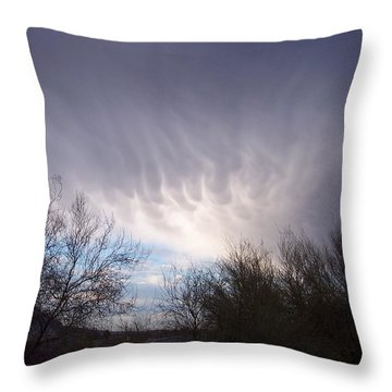 Clouds In Desert Throw Pillow by Mordecai Colodner