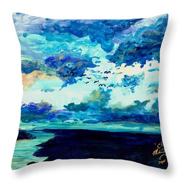 Clouds Throw Pillow by Melinda Dare Benfield