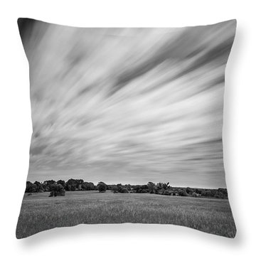 Clouds Moving Over East Texas Field Throw Pillow