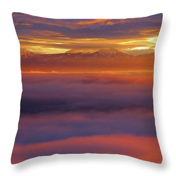 Clouds Of Fire Surround The La Sal Mountains From Dead Horse Point State Park Throw Pillow