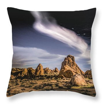 Clouds Over Alabama Hills Throw Pillow