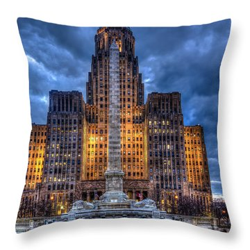 Throw Pillow featuring the photograph Clouds Over City Hall by Don Nieman