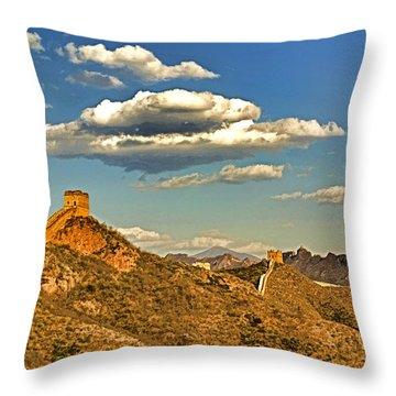 Clouds Over Great Wall Throw Pillow