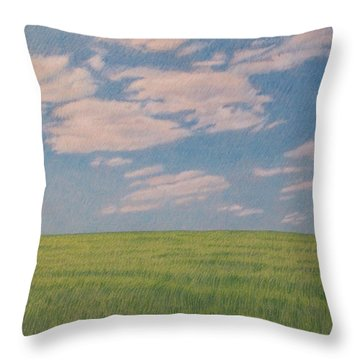 Clouds Over Green Field Throw Pillow