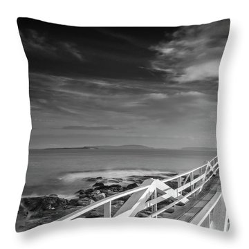Clouds Over Marshall Point Lighthouse In Maine Throw Pillow