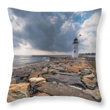 Clouds Over Old Scituate Light Throw Pillow