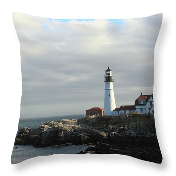 Clouds Over Portland Head Lighthouse 2 Throw Pillow