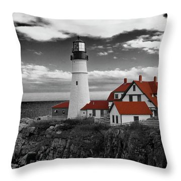 Clouds Over Portland Head Lighthouse 3 - Bw Throw Pillow
