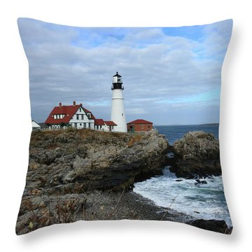 Clouds Over Portland Head Lighthouse Throw Pillow