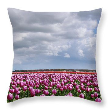 Clouds Over Purple Tulips Throw Pillow